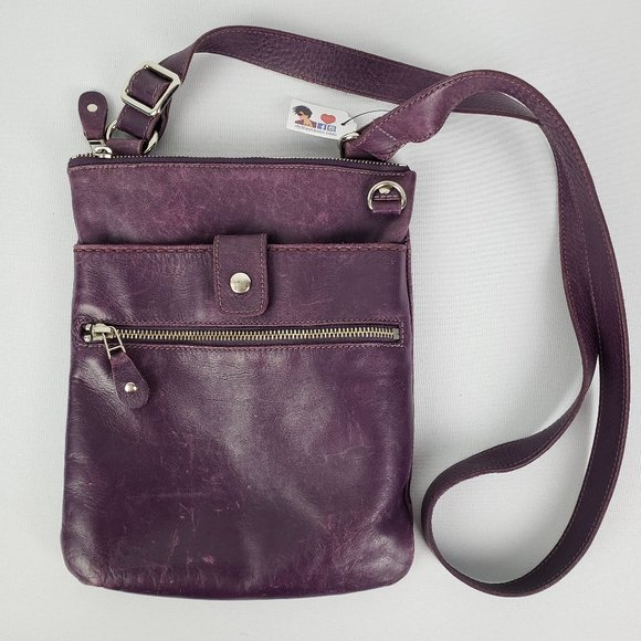Roots Purple Leather Crossbody Purse